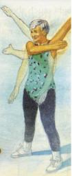 Nella figura a sinistra sono indicati i movimenti che si possono compiere con una cuffia dei rotatori sana: in alto e indietro. in basso e indietro, attraverso il torace, di lato.